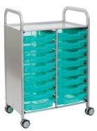 Callero Shield Antimicrobial Double Trolley with Shallow Trays