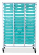 Antimicrobial Mobile Storage Frame with Shallow Trays