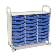 Callero Plus Treble Trolley with Shallow Trays