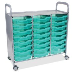 Callero Shield Antimicrobial Treble Trolley with Shallow Trays
