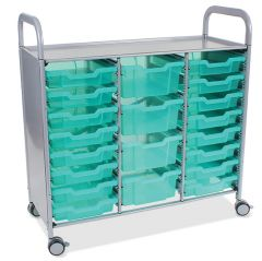 Callero Shield Antimicrobial Treble Trolley with Shallow and Deep Trays