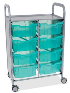 Callero Shield Antimicrobial Double Trolley with Deep Trays
