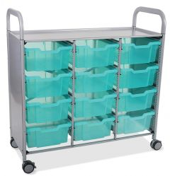 Callero Shield Antimicrobial Treble Trolley with Deep Trays