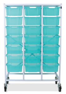 Antimicrobial Mobile Storage Frame with Deep Trays